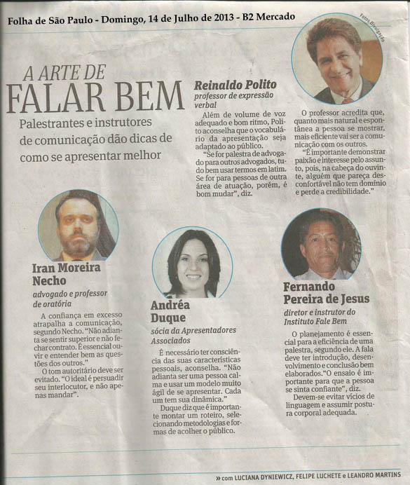 Matéria sobre Oratória na Folha de São Paulo